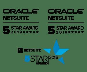 Staria's NetSuite 5-Star awards 2016, 2018, 2019