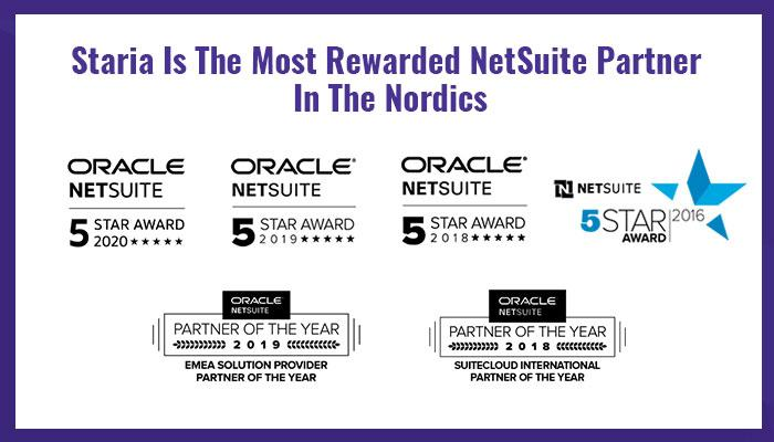 Staria Most Rewarded NetSuite Partner