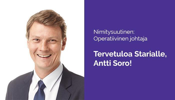 Nimitysuutinen: Antti Soro Starian operatiiviseksi johtajaksi