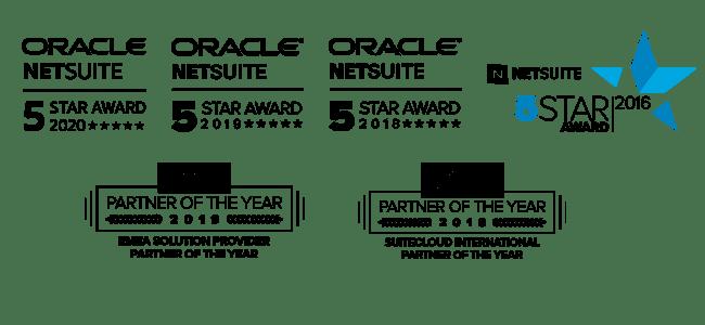 Staria's NetSuite Award logos